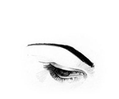 Sketch model of an eye brow after a brow lift surgery
