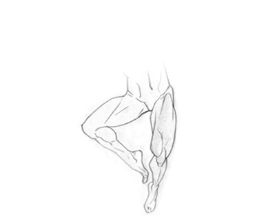 Drawing of the results of a thigh lift surgery